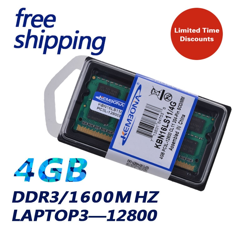 KEMBONA пожизненная гарантия! Модуль памяти DDR3L DDR3L 1600 МГц DDR3 PC3-12800 4 Гб, модуль оперативной памяти для ноутбука, 1,35 в