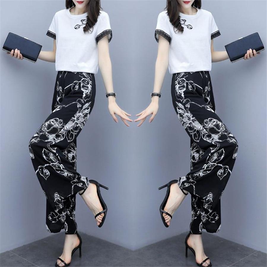 Two Piece Short Sleeve Women's Set  short  Sleeve Tops Chiffon Floral Wid Leg Pants Set Crop Top Blouse Trousers