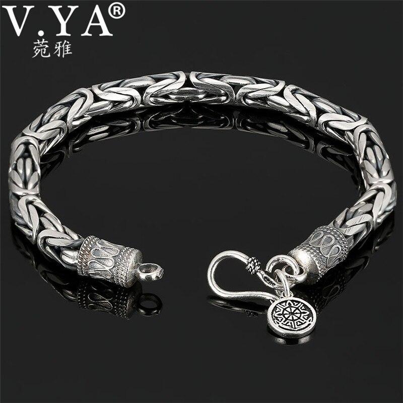 V.YA pulsera de 100% auténtica de Plata de Ley 925 auténtica y gruesa con diseño seguro para hombres, envío gratis, joyería fina para hombres HYB04