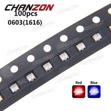 100 stücke 0603 (1616) Bicolor Blau Und Rot SMD SMT Chip LED Leuchtdiode Lampe Oberflächenmontage Technologie 20mA für PCB