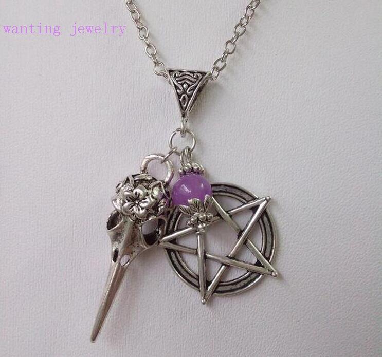 Vintage Antike Silber Vogel Crow Schädel Pentagramm Charme Anhänger Kette Halskette Weihnachten Geschenk Wicca Pagan Goth Schmuck
