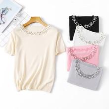 Diamants t-shirt femmes tricot T-shirts femmes 2019 Vogue élégant T-shirts tricot femmes O cou manches courtes hauts