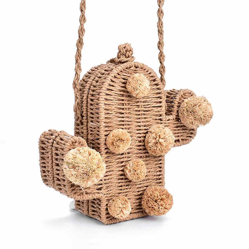 2019 nuevo bolso de playa de alta calidad, bolso de mimbre de cactus, bolso de paja, bolsos de verano con pom, bolso de mensajero para mujer trenzado