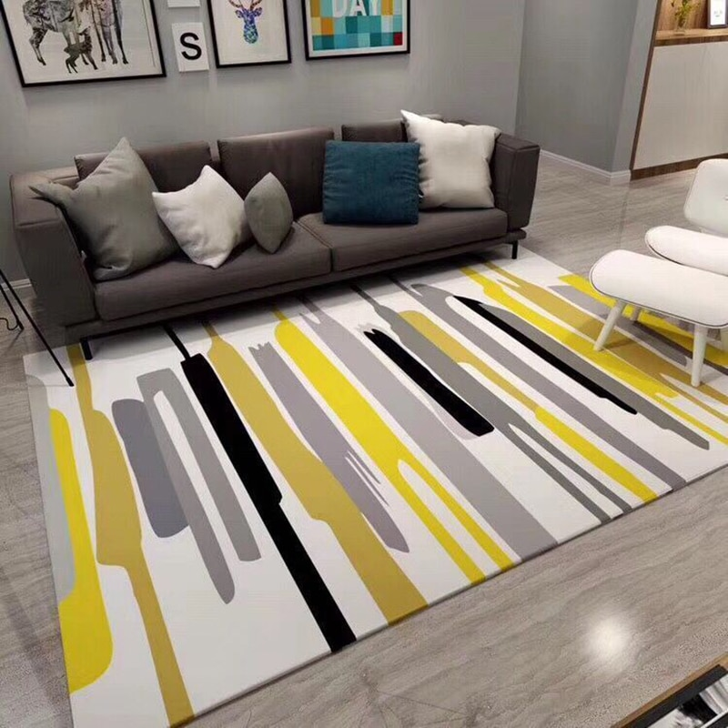 Alfombra Rectangular geométrica nórdica, mesita para café de sala de estar dormitorio muestra estera de sofá minimalista moderno