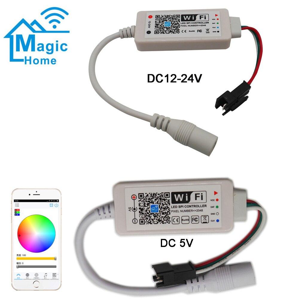 DC5V DC12-24V A Casa La Magia LED Controller SPI Indirizzabile 2048 Pixel Mini WiFi Controller Per WS2811 SK6812 WS2812B HA CONDOTTO La Striscia