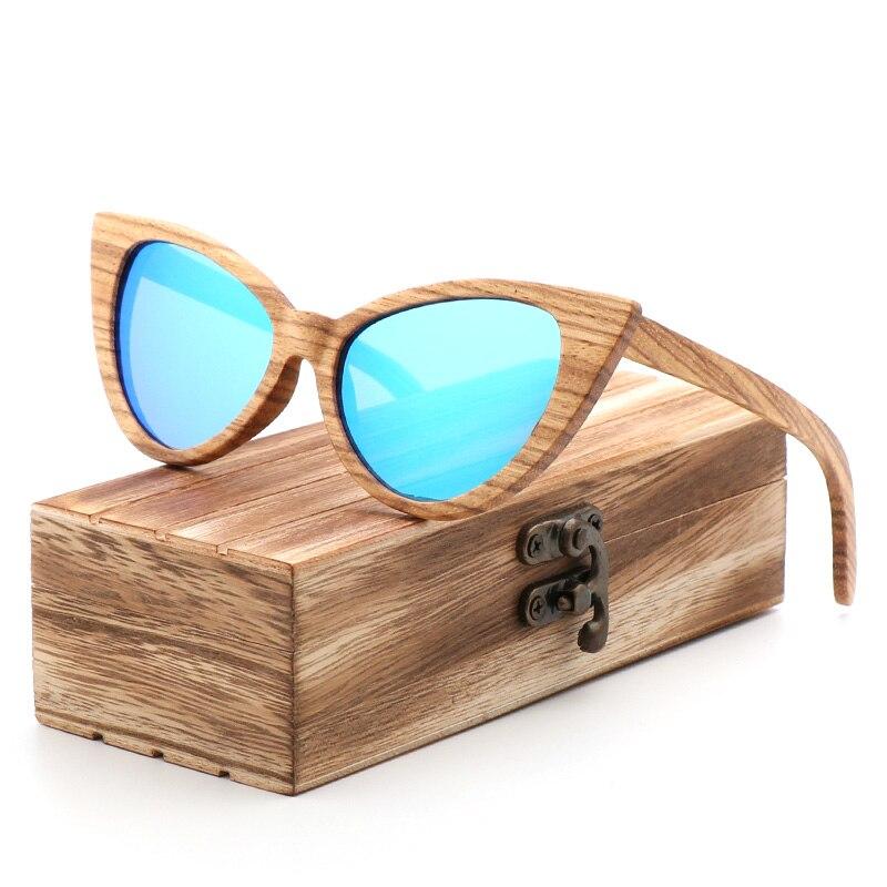 Gafas de sol redondas de lujo 2018, Gafas de sol polarizadas para mujer, ojo de gato tipo Gafas de sol, Gafas de madera con caja de madera, Gafas de sol solaria