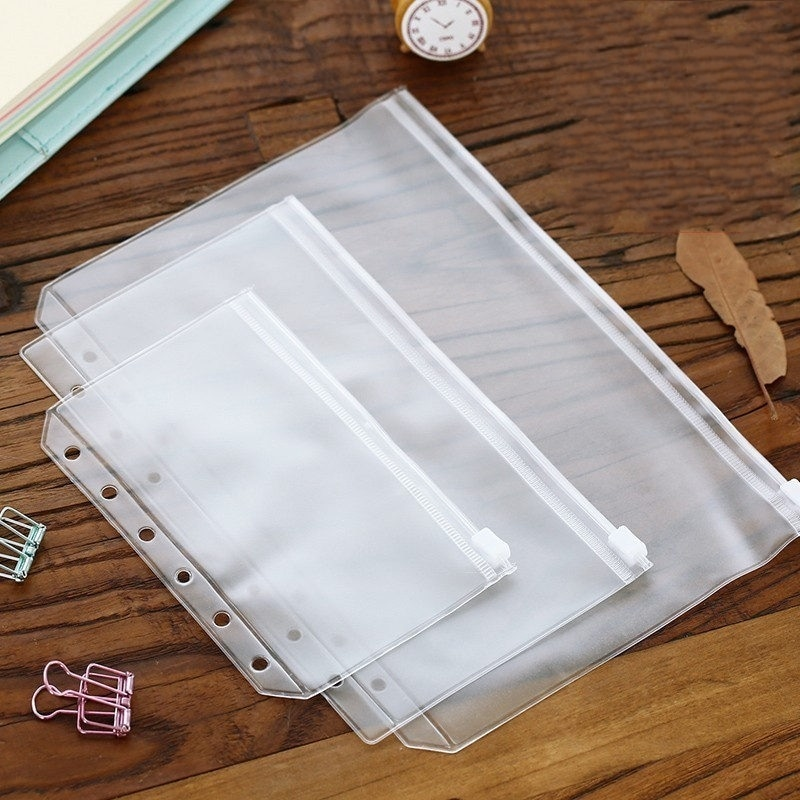 5Pcs New A5 A6 A7 File Holder Transparent PVC Loose Leaf Pouch Self-Styled Zipper Filing Organizer Bags