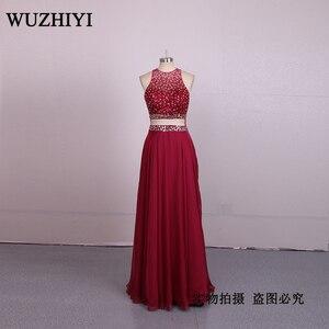 WUZHIYI Sexy Beading Bodice Mermaid plus size Prom dresses 2017 Chiffon New Arrival See through Prom dress for Black Girls dres