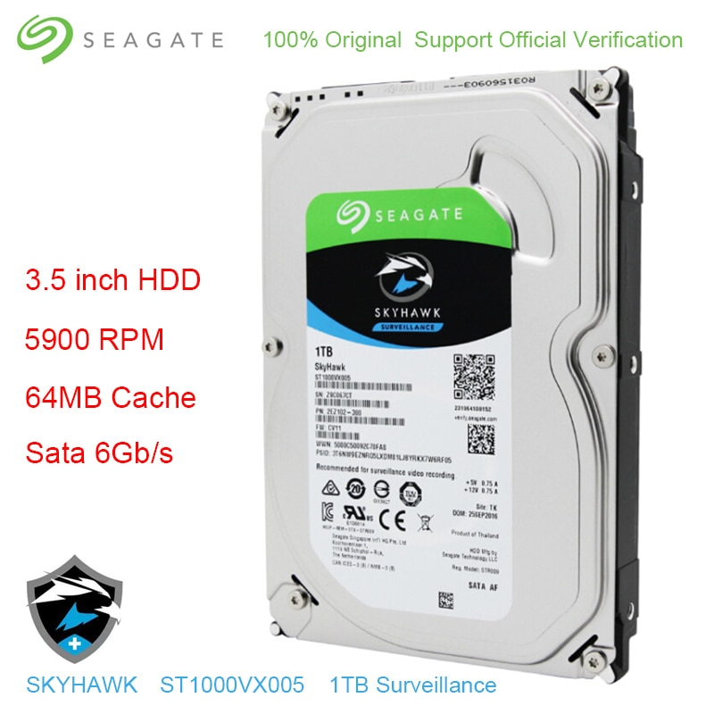 Disque dur de Surveillance vidéo Skyhawk dorigine Seagate interne HDD 1 to 3.5