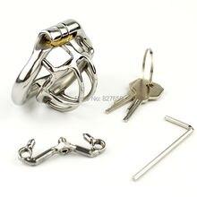 Super petite Cage de pénis de dispositif de chasteté masculine avec la bouche ouverte anneau de chasteté en forme darc anneau de chasteté ceinture de chasteté en acier inoxydable