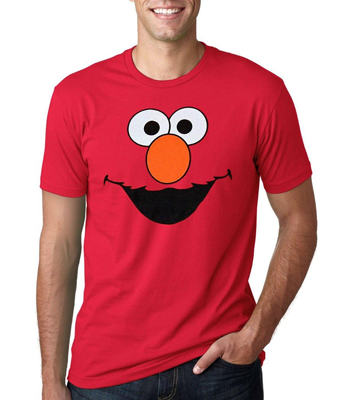Calle Sésamo Elmo cara adulto camiseta hombres manga corta Camiseta estampado casual camiseta para hombres 2017 camiseta superior interesante