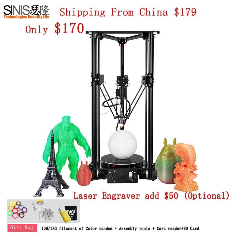 Kit de impresora Delta 3D de alta precisión, máquina impresora 3D de menú multiidiomas con grabador láser BMP de alimentación remota 3d impresión de