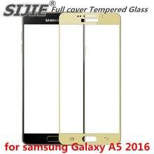Couvercle complet en verre trempé pour samsung Galaxy A5 2016 A 5 A5100 A510 A51 5.2 pouces écran de protection cadre noir tout bord