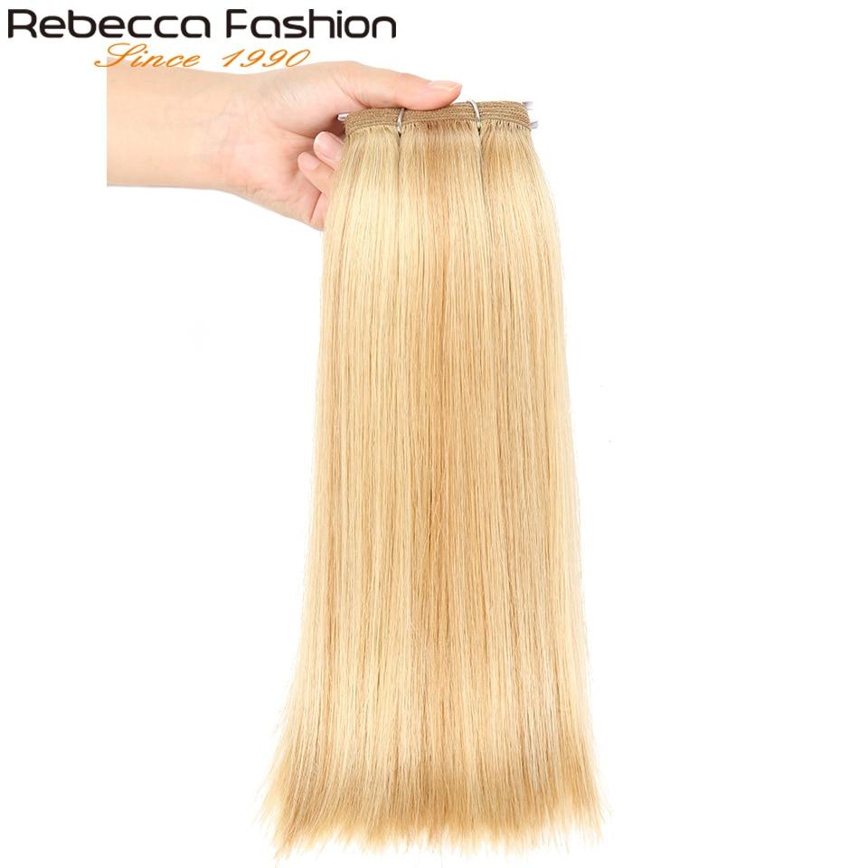 rebecca pre colorido brasileiro feixes de cabelo humano em linha reta ombre loira