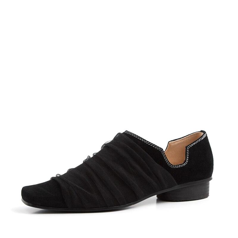 Zapatos Moeller 2019 primavera y otoño nueva moda casual cómodo tacón bajo zapatos de cuero de punta cuadrada para mujeres