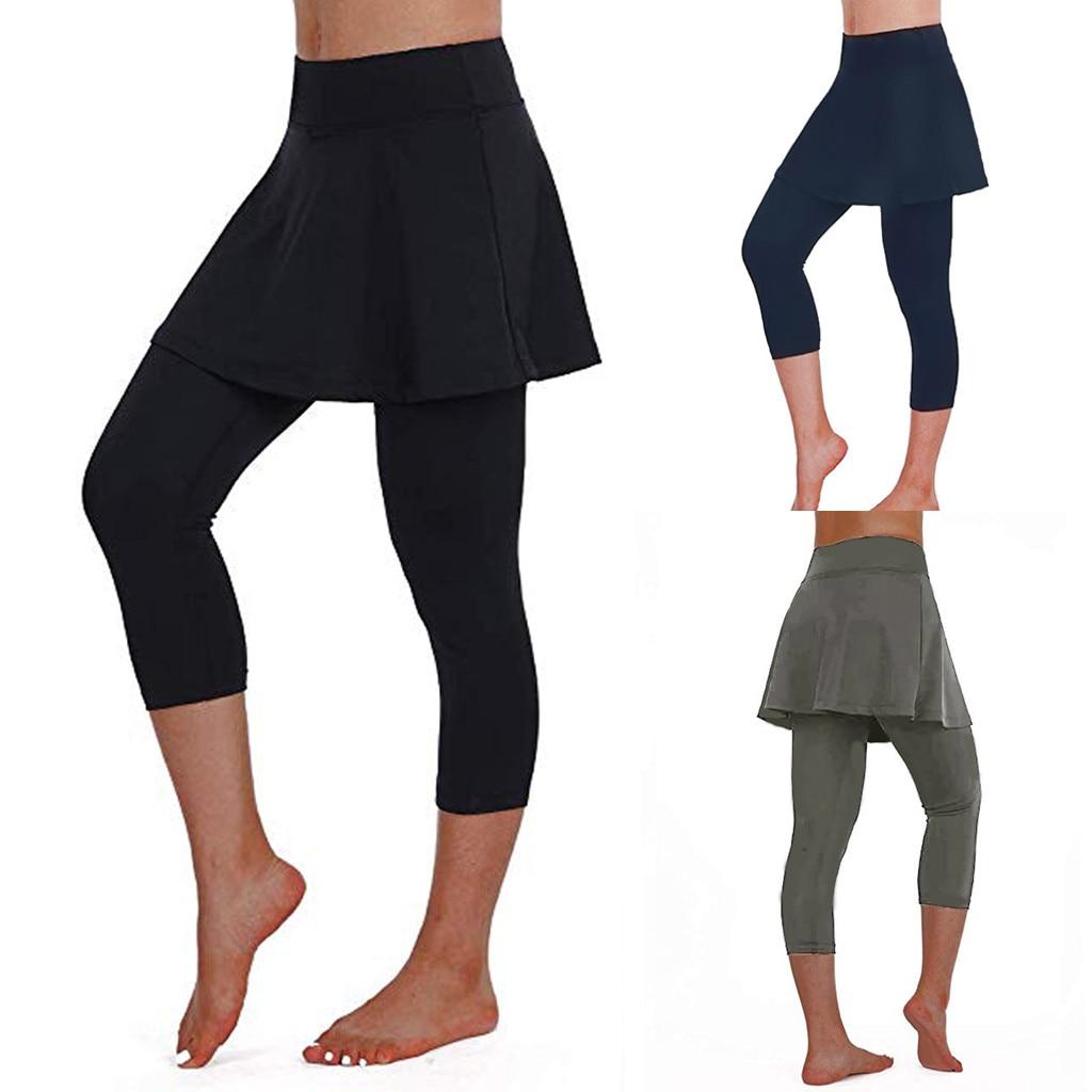 Pantalones Fracht Para Mujer 2019 frauen Casual Rock Leggings Tennis Hosen Sport Fitness Cropped Culottes брюки кюлоты Z4
