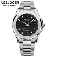 AGELOCER Black Automatic Men Wristwatch Swiss Sapphire Luminous Self-wind Mechanical Watches Waterproof Power Reserve 80H 2019