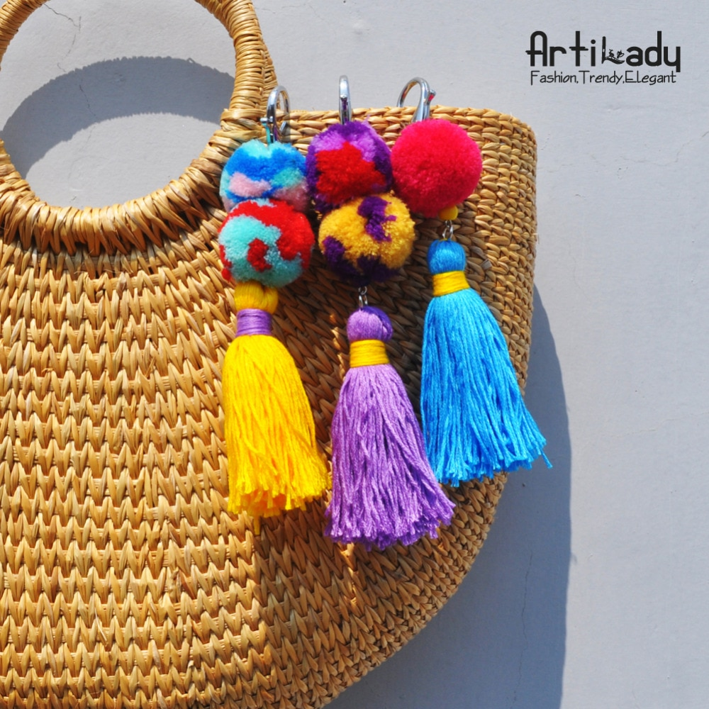 Artilady key chain bohemian pom pom tassel keychain bag charm keyholder beach ethnic jewelry keyring for women