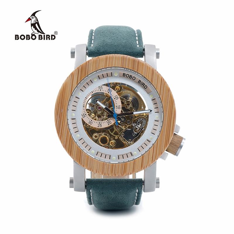 BOBO BIRD ساعة ميكانيكية للرجال ساعات يد ميكانيكية للرجال حزام جلدي فاخر ساعة رجالية من الخشب