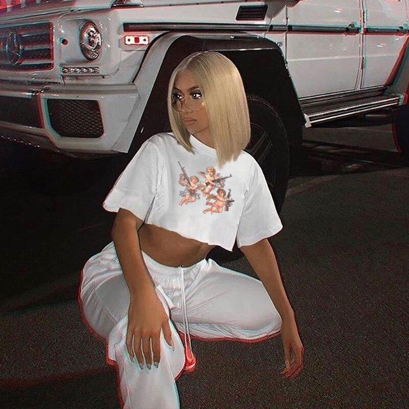 Summer Bare Midriff Women Cute Short Sleeve Casual Thin T-Shirt Crop Cami Tee Tops Hot