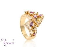 high quality new model purple olive green stone jewelry ring gold color plating finger ring for women gift