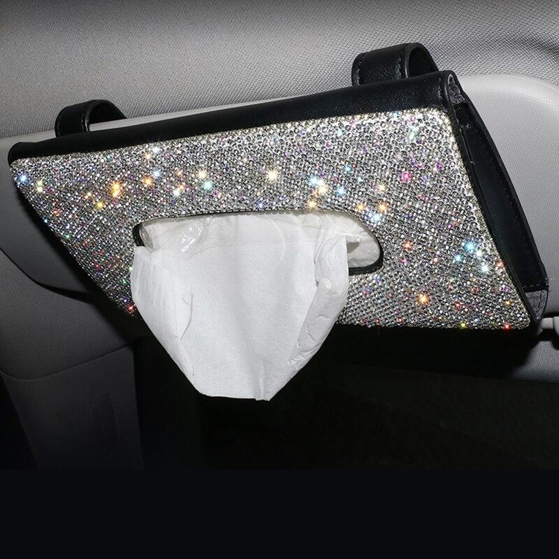 בלינג קריסטל רכב תיבת רקמות מגן שמש יהלומי עור אוטומטי רקמות נייר מחזיק מקרה Sunvisor תליית מפית אביזרי רכב