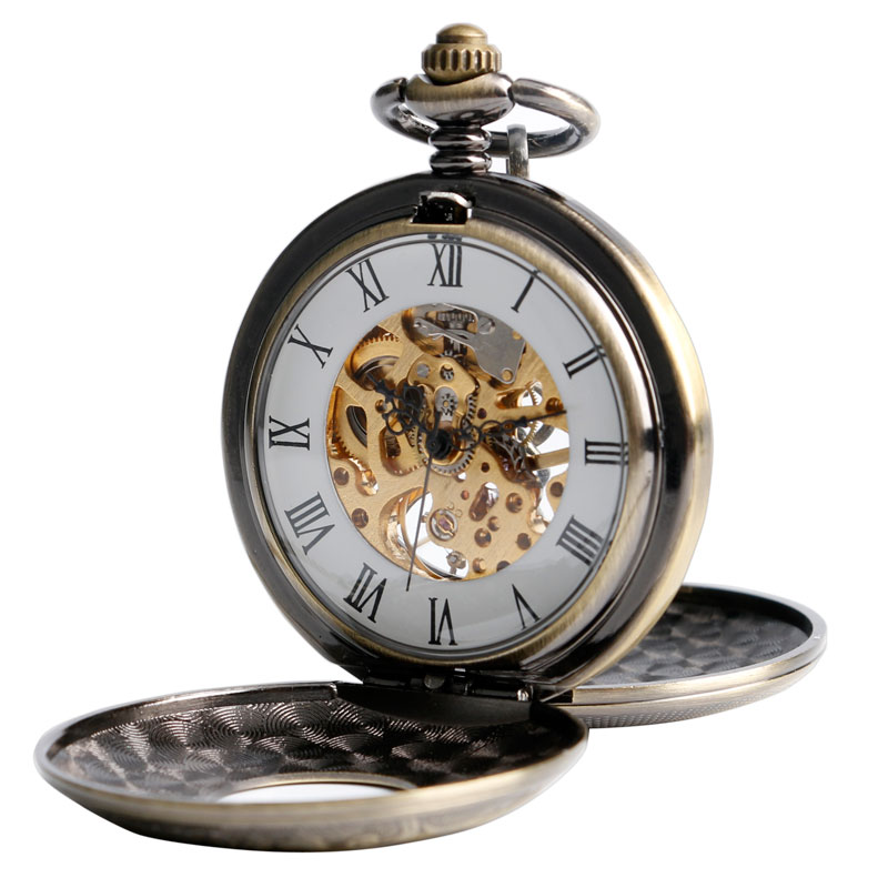 Relojes de bolsillo Fob cuerda a mano mecánica de lujo bronce Chic vapor doble cazador hueco números romanos Fob reloj regalo nuevo estilo