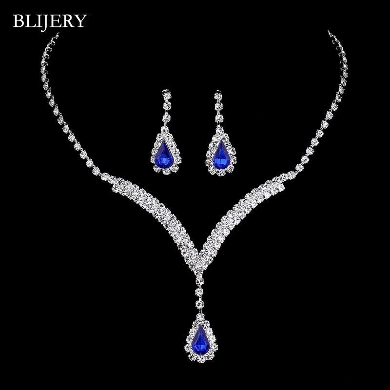 BLIJERY Royal Blue Crystal Bridal Jewelry Sets V Shaped Teardrop Choker Necklace Earrings Wedding Jewelry Sets for Women