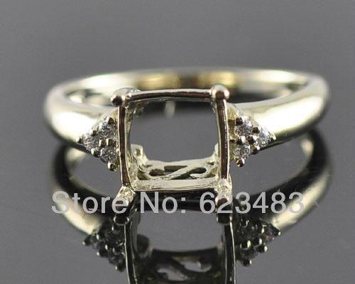 Princess cut 8x8mm Solid 14k  Yellow Gold Natural Diamond  Semi Mount Setting Engagement Ring