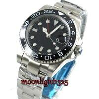 top 40mm black sterile dial sapphire glass GMT black ceramic Bezel date window automatic mens watch