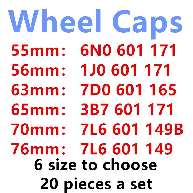20Pcs 56mm 65mm 63mm 70mm 76mm Chrome Car Wheel Center Hub Cap Covers 1J0601171 3B7601171 7D0601165 6N0601171 7L6601149