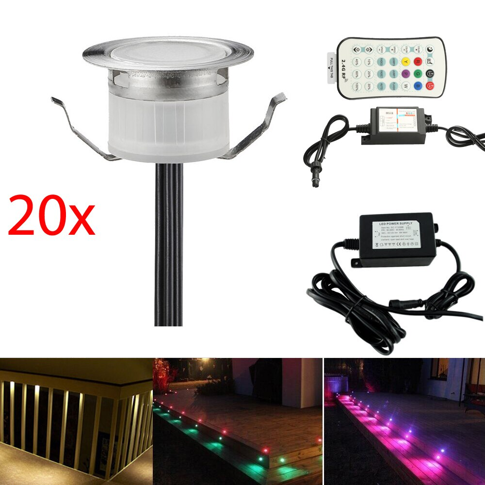 20Pcs/set RGBW RGB+Warm White 31mm 12V ip67 Kitchen Pathway Terrace Patio Stair Step LED Deck Rail Lights Low Voltage