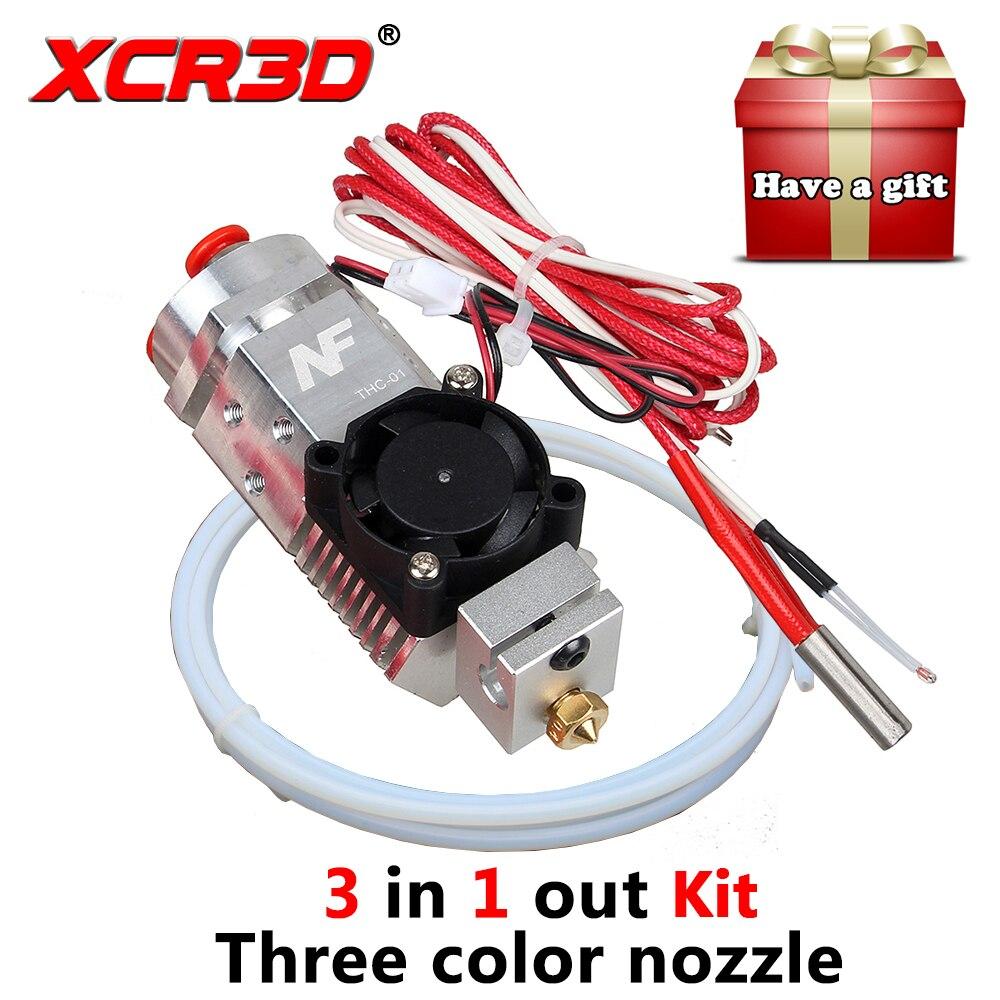 3D أجزاء الطابعة الطارد 3 في 1 Hotend الانصهار متعددة اللون فوهة 1.75 مللي متر NF THC-01 ثلاثة ألوان التبديل المعادن 12V/24V سخان
