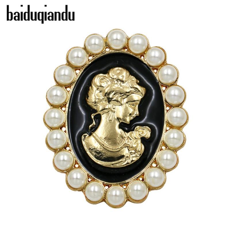 Baiduqiandu, venta directa de fábrica, broches de camafeo Vintage esmaltado blanco y negro para mujeres, abrigo, accesorios de joyería, regalos