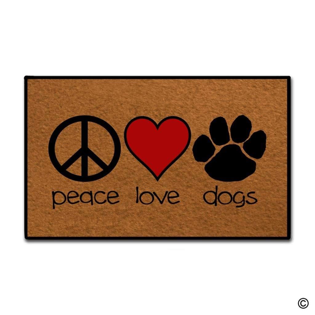 Felpudo de entrada-divertido y felpudo creativo-Felpudo de amor por la Paz para perros para uso en interiores y exteriores
