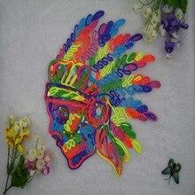 Vêtements de bricolage, paillettes brodées   Patch pour vêtements T-shirt couture Biker patchs tête de crâne indien A & F Logo