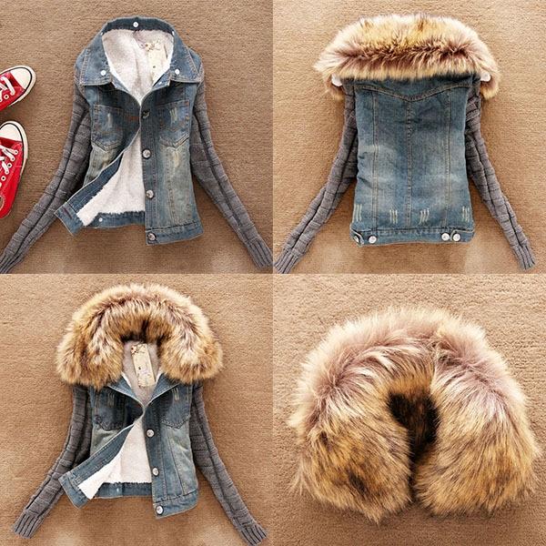 Abrigo de invierno de tela vaquera, prendas de vestir, forro polar de piel, chaqueta de vaquero corto, chaqueta de manga larga ajustada para mujer, abrigo cálido con Cuello de piel para pareja W1