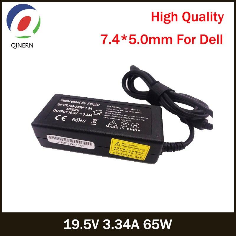 Зарядное устройство QINERN 19,5 V 3.34A 65W 7,4*5,0mm AC для ноутбуков, адаптер питания для ноутбуков Latitude 2120,2100,2110,D430 D400 D410 для ноутбуков Dell