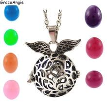 Graceangie, medallón de ala de Color plateado, Bola hueca para embarazo, jaula de filigrana, colgante de Bola de cobre, collar difusor de aceite essecial, 39610
