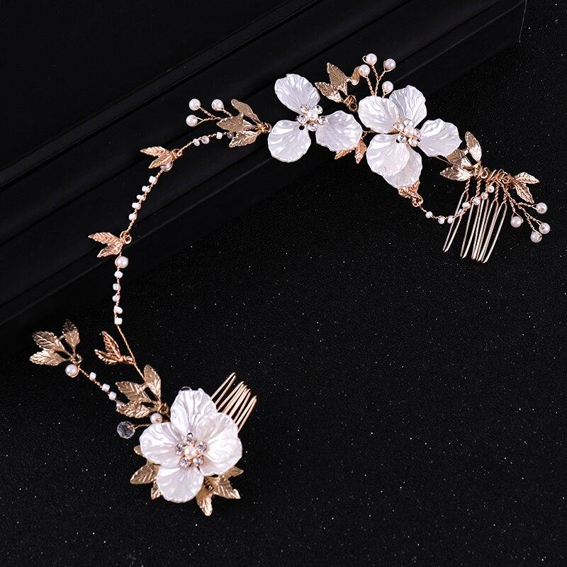 Vintage Blume Blätter Stirnbänder Perle Kristall Hochzeit Haar Schmuck Für Frauen Tiara Haar Kämme Kopfschmuck Braut Haar Ornamente