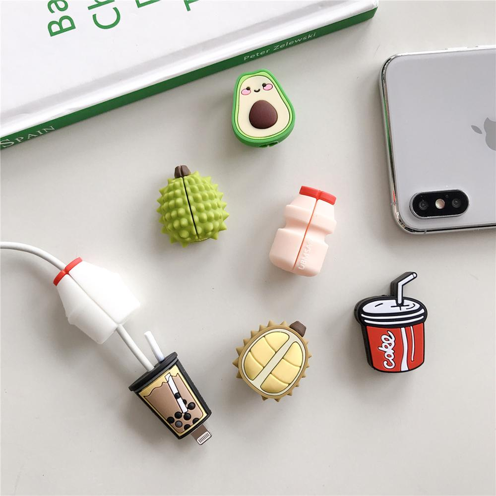 Cute Cartoon Avocado Durian Cola Cable Protector Data Line Cord Protective Case Cable Winder Cover For iPhone USB Charging Cable cartoon cable protector data line cord protector protective case cable winder cover for iphone charging cable protecto