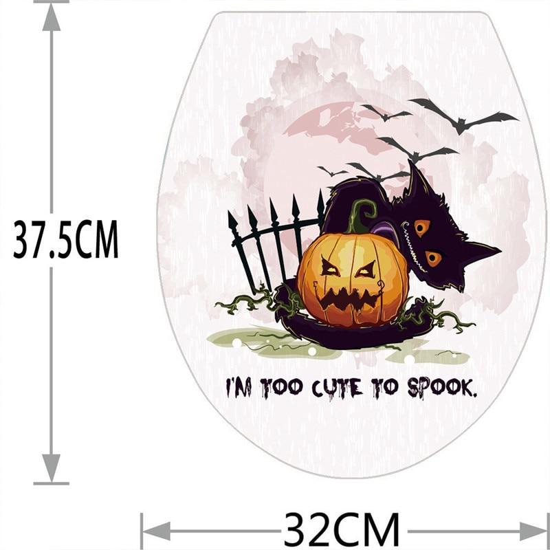 Hallowmas Toilet Seat Wall Sticker Decals Vinyl Art Removable Wallpaper Pumpkin ghost bat pattern wall decals 2018 fashion