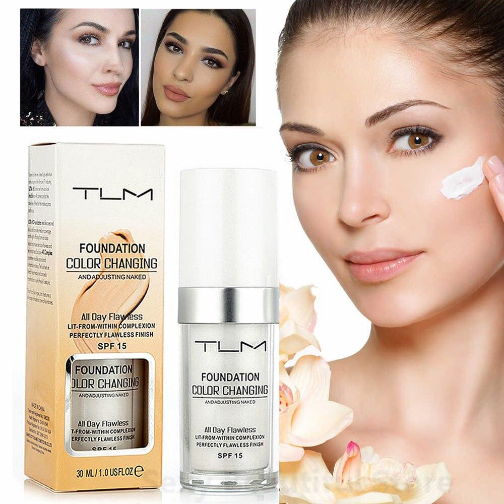 TLM 30ML Farbwechsel Foundation Make-Up Basis Flüssigkeit Abdeckung Concealer Langlebige Make-Up Sombras Haut Care Foundation TSLM2