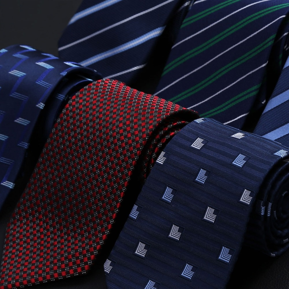 8 см новый роскошный 100% натуральный шелковый галстук для шеи мужская деловая рубашка Геометрические галстуки в полоску и горох свадебные по...