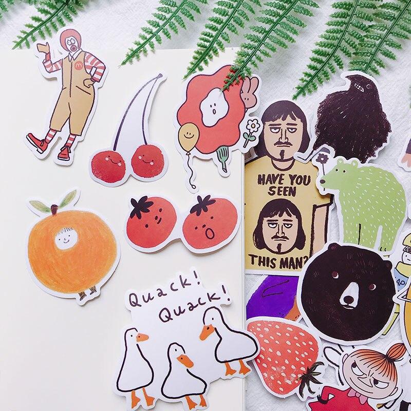 19 pçs/saco colorido pintados à mão bonito adesivos diy scrapbooking álbum diário projeto feliz plano presente decoração adesivos