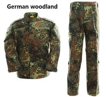 Taktische Uniform Tarnung Anzug Militär Kampf Uniform Set Shirt + Hosen Deutsch Woodland Camouflage Jagd Kleidung