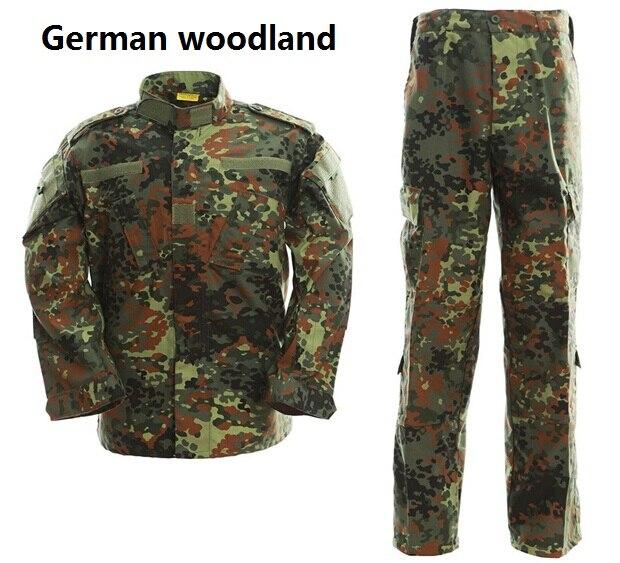 Uniforme táctico, traje de camuflaje militar, uniforme de combate, conjunto de camisa + Pantalones, ropa de camuflaje de bosque alemán, ropa de caza