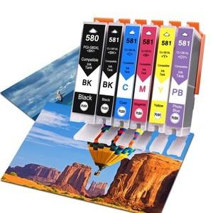 6Pack Compatible Ink Cartridges For PGI580 CLI581 PGI-580 CLI-581 For Canon Pixma TR7550 TR8550 TS6150 TS8150 TS9150 TS9155