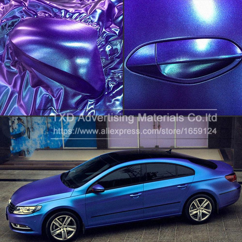 Premium quality Pearl Matte Chameleon Vinyl Purple / blue Vinyl Car Wrap Film With Air Bubble Free CAST Car Vehicle Styling foil