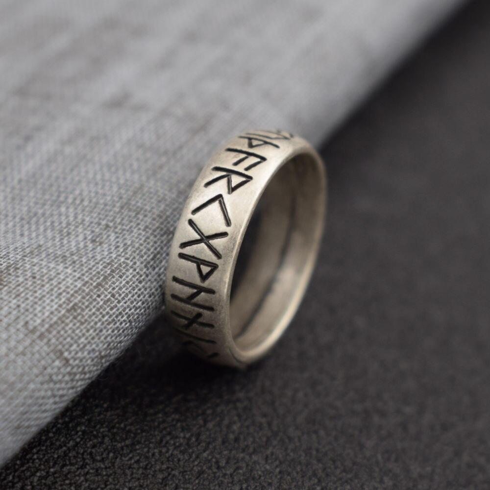 Anillo de runas vikingas con Elder Futhark runas Norse anillo joyería escandinava SanLan